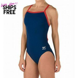NWT Speedo Sporty One Piece Swimsuit Blue